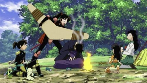 Sango beating miroku!!! :D