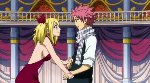 when lucy and natsu danced in the magical ball kyaa that was such a cute moment when lucy also thought when natsu was going to confess her
