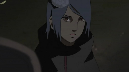konan from 火影忍者 (sry the picture is dark but she have a bright blue hair)