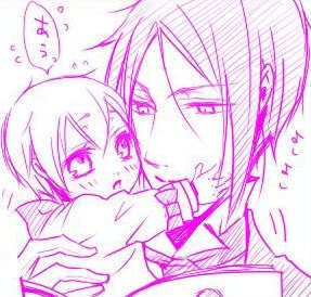 Sebastian with baby Ciel they're my kegemaran characters so I telah diposkan this