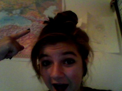 This bun finally stayed on my head! YAAYY!! i dont know whats going on :)