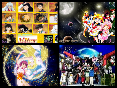 Inuyasha!!!!!!!!!!!! transformers cybertron!!!!! (bottom right) Sailor moon!! (top right) Kaleido Star!!!!!!(bottom left)