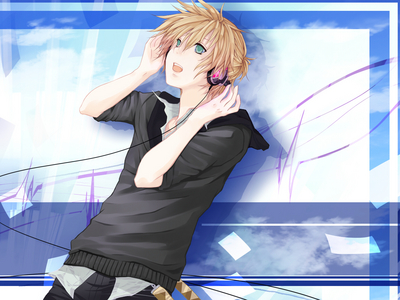 It's Len Kagamine listening to some music~