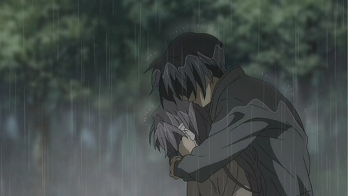 tomoya and kyou in the rain!~ :D