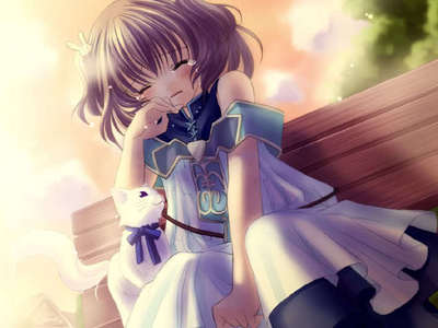 Cute crying girl with an white kitty to comfort her :3