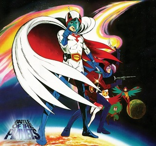 How about Battle of the Planets? It's basically an english dub of Science Ninja Team Gatchaman that completely sanitizes the show of almost any and all violence (though it still isn't shy about showing death).