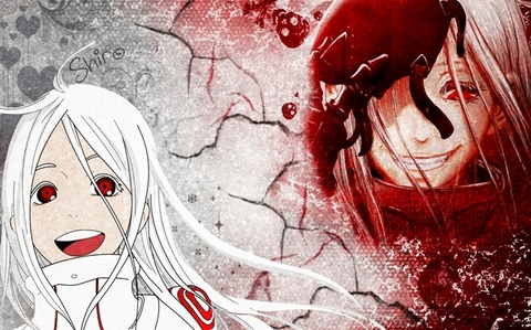 Shiro/Red Man from Deadman Wonderland. Shiro is a bubbly girl and has lots of energy, but when she's the Red Man her whole other personality changes.