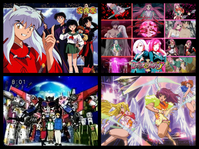 1.Inuyasha (top left) 2. Rosario vampire (top right) 3. 트랜스포머 cybertron (bottom left) 4. Kaleido 별, 스타 (both season 1 and 2) (bottom right)