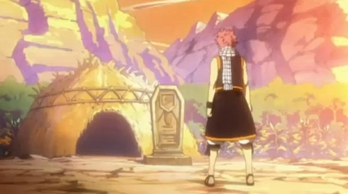 """when Natsu's standing によって the gravestone he made for Lisanna in the place where they used to play as kids. all he says is """"goodbye""""."""