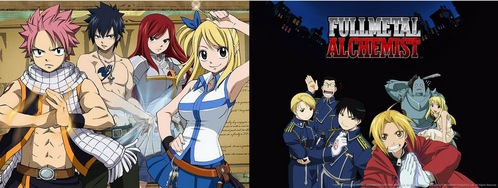 Fairy Tail または Fullmetal Alchemist (brotherhood) Fairy Tail is about Lucy, 17 years old, who wants to become a mage. she is looking for a guild called Fairy Tail & one 日 she meets Natsu & Happy who're looking for someone called Igneel. they had heard that there's a mage in town who calls himself サンショウウオ, サラマンダー but it wasn't him since Igneel's a dragon. the so called サンショウウオ, サラマンダー then comes to Lucy & says he's from Fairy Tail. i don't wanna spoil too much & suck at explaining but it'll have to do. Fullmetal Alchemist is about the 2 brothers Edward & Alphonse Elric. when they were little they tried to bring their mother back to life but something went wrong & Edward ロスト his left leg & Alphonse his whole body. Edward then sacrificed his right arm & put Alphonse's body into an armor. Now they're searching for a way to take back what they've lost. Brotherhood is another version of FMA which follows the マンガ more.