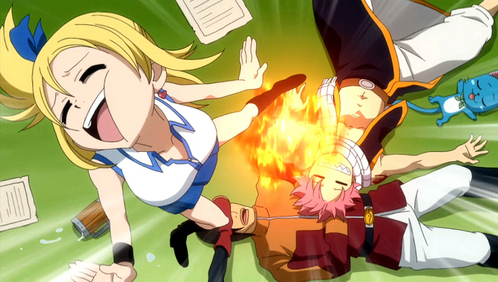 Sleeping Natsu punches Lucy..