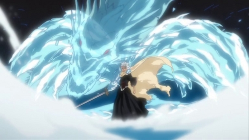 Hitsugaya Toushirou!! he's the captain of the 10th squad. he's got the most powerful ice-snow type zanpakuto (Hyourinmaru). all water is his weapon, he can even control the wheather.