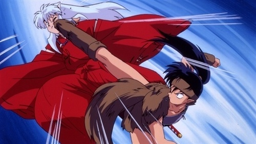 Koga!!!!!! XD (the one his kicking inuyasha's butt)