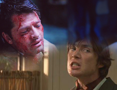 Castiel (played 由 Misha Collins) after being ripped apart from the inside 由 the leviathans. Jackson Rippner (played 由 Cillian Murphy) after being stabbed in the throat and thrown down stairs.