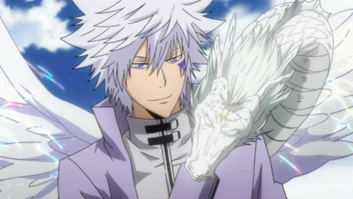 Byakuran with his white dragon(box animal) from KHR!