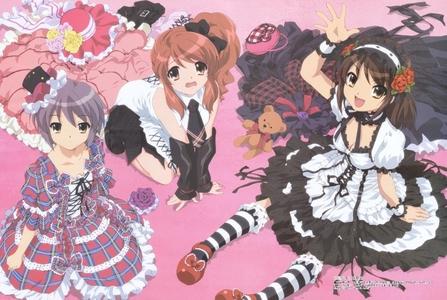 (from left) Yuki, Mikuru and Haruhi! :3