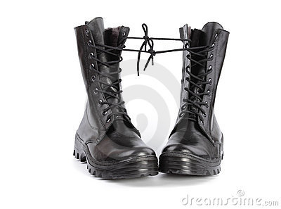 Old, worn out, black army boots.
