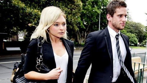 Daniel Ewing wearing a tie when going to court with his girlfriend.
