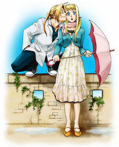 Winry is blushing haha I don't support the pairing but I do think this picture is pretty cute...