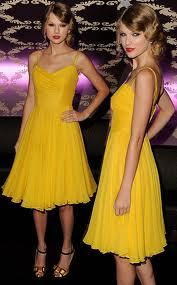 Here Is Taylor Swift With A Yellow Dress!!