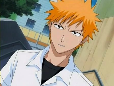 Kurosaki Ichigo from Bleach he practically always looks like that.
