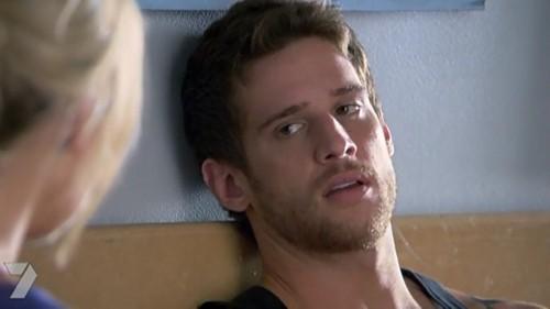 Daniel Ewing as Heath hearing that Bianca was in hospital.