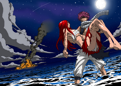 Natsu and Erza....they are good friends(but not a couple,Natsu has Lucy and Erza has Gerard),from Fairy Tail アニメ