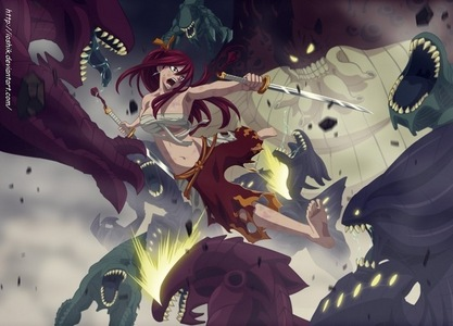 The strongest female magician of Fairy Tail guild-Erza Scarlet^^She had a really hurting past