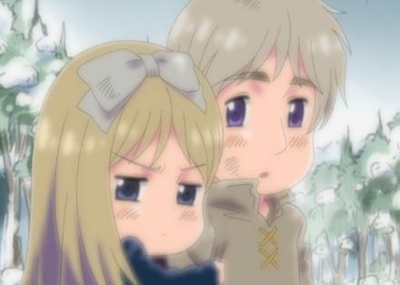 Belarus hugging her big brother Russia.