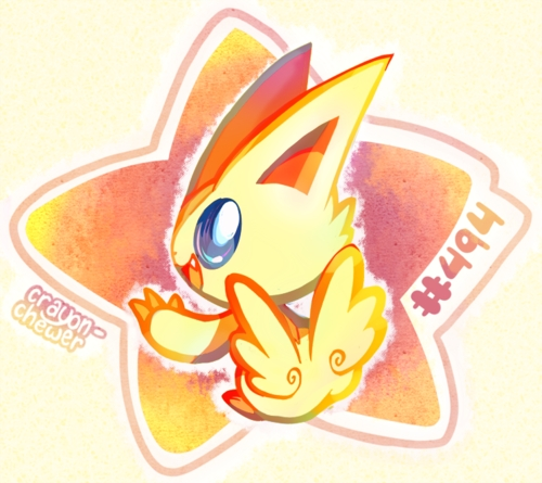 Victini!!! cuz he is cute and adorable Pokemon! and he is one of my fan! :3
