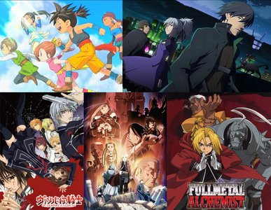 Blue Dragon Vampire Knight Darker Than Black Fullmetal Alchemist or FMA Brotherhood (Brotherhood follows the manga more) all of them r really good. although Darker Than Black can be a little complicated.