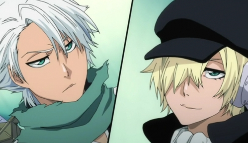 Invaders must die! Yukio Hans Vorarlberna (to the right) though he's not even close to what Hitsugaya Toushirou is. but Shiro's a good guy :)