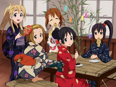 K-ON!! I haven't seen it so I don't know what it's about, but I think it's supposed to be good?