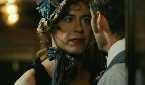 Robert Downey Jr. in Sherlock Holmes disguised as a woman.