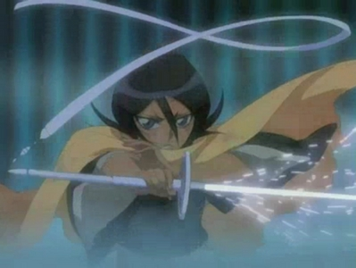 "Rukia Kuchiki from Bleach, releasing her zanpakuto ""Sode no Shirayuki"""