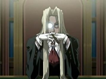Integra from Hellsing. Some girls have pet kittens, some girls have pet psychotic vampires.