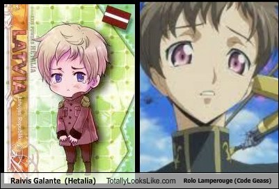 Latvia and Rolo :D The sad eyes and curly hair, especially.