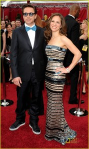 blue bow tie and his beautiful wife Susan Downey!!