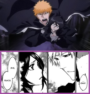 """[b]ICHIGO AND RUKIA[/b] from Bleach! ahh what can I say...no I'm not gonna say anything...let the author and Ichigo themselves speak: [i]""""After being pierced 의해 Rukia's sword, Ichigo regains his shinigami powers once more. Just like the first time they met, they understood each other. [b]Indeed, Ichigo's and Rukia's hearts connect.""""[/b][/i] ―Tite Kubo (Bleach mangaka) [i]""""I wonder if I would be able to keep up with the speed of the world without 당신 in it""""[/i] ―Ichigo Kurosaki (manga poem to Rukia)"""