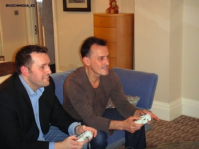 Rob playing Playstation. A game of Prison Break came out and he could play himself.