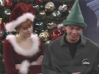Matthew dressed as an elf and Maitland Ward dressed as Mrs. Claus. Merry Christmas!!