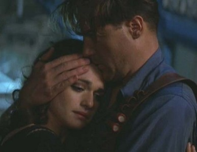 Brendan Fraser as Rick O'Connel, calming Evy down after their son is kidnapped.