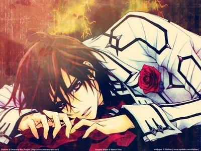 Kaname Kuran(Vampire Knight)with a red rose