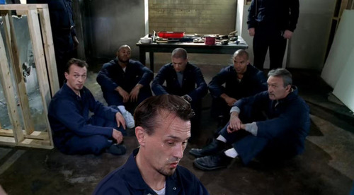 all of them looking guilty as they hit the waterpipe while renovating the room