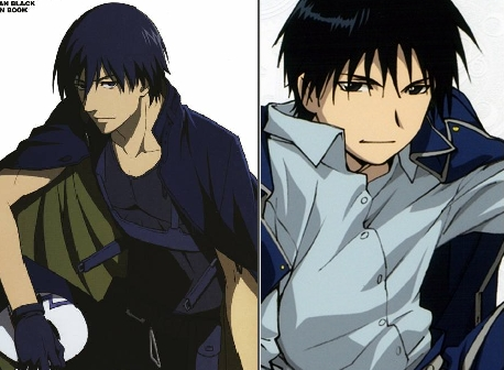 Hei from Darker than Black and Roy 반 야생마, 무스탕, 무스 탕 from Fullmetal Alchemist (i like roy more)