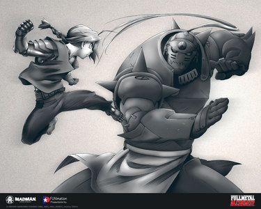 Without doubt and question, Fullmetal Alchemist, both 2003 and Brotherhood (manga). Regardless, it tells the same story and themes despite the change in direction. I have personal reasons too, but I refuse to say them openly. The picture depicts Ed and Al fighting. The automail in the picture is Winry and the representation of Ed's strength to be a State Alchemist and the brothers' past. The fighting is something they learned from Izumi and use it to fight the homunculi. Everything that tells its story all in one picture. - CLAMP Full Metal moyo