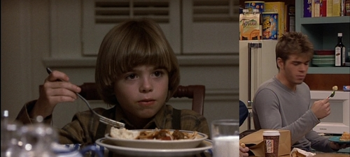 """Matthew in both pics, 1st one from """"Planes, Trains & Automobiles"""" age 6 and the 2nd is from Boy Meets World."""