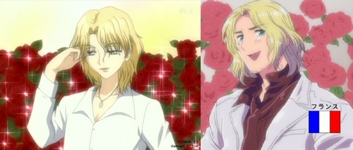 I always feel like France(Hetalia) and Narumi(Gakuen Alice) look allot alike... but I feel the 망가 Narumi looks 더 많이 like France than the 아니메 one... don't know why... XD