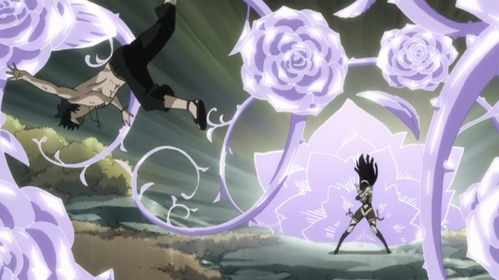 Ultear's ice make Rosen Krone. from Fairy Tail. and it's a completely wild Gray to the left.