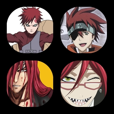 Gaara (Naruto) Lavi (D.Gray-Man) Renji (Bleach) Grell (Kuroshitsuji) I guess I have a thing for red haired guys :)